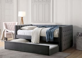 Grey Susanna Day Bed with Trundle *****FREE DELIVERY ***FINANCING