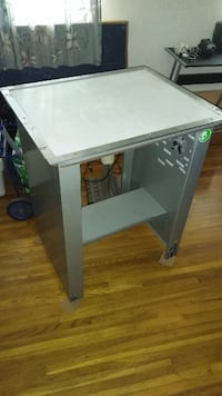 Metal table with built-in flourescant tube lighting system, industrial New Westminster