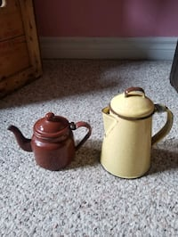 Small vintage enamel tea pots