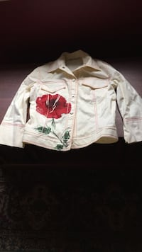 White and red floral button-up jacket size small never worn Burnaby, V5G 2A8