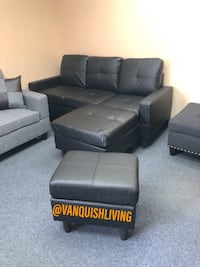 New Black Leather Reversible Sectional Sofa With Ottoman