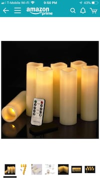"Flameless Candle,LED Candles Set of 7,(7"" H,2.2"" D) Flickering Flame with Remote and Timer Real Wax Pillar Battery Candle 