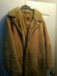 Man's large lambs wool and leather jacket.