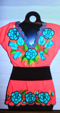 Coral blouse with blue flower embroidery!  Houston, 77057