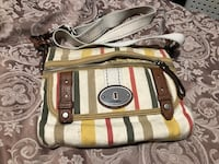 white, brown and green pinstripe leather sling bag O'Fallon, 62269
