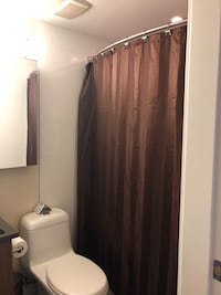 Shower curtain, rings and bath mat (brown) Vancouver, V5T 0B8