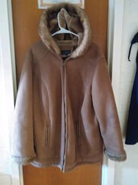 Ladies tan suede winter jacket