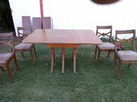 square brown wooden table with 4-chair dining set Spokane Valley, 99212