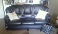 Black leather couch, chair & ottoman