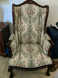 Wingback chair with floral fabric Eugene, 97404