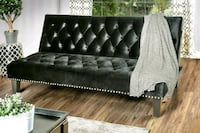 Transitional Black Flannelette Fabric Futon Sofa A Rancho Cucamonga