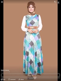 women's blue and white long-sleeved dress London, N6E 3R1