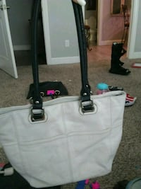 white and black leather tote bag Rogers, 72758