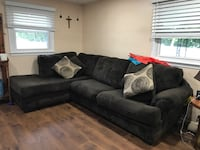 Dark brown suede sectional sofa with throw pillows Odenton, 21113