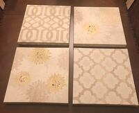Beige, cream and gold canvas wall decor, set of 4 New Orleans