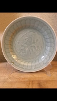 white ceramic floral plate