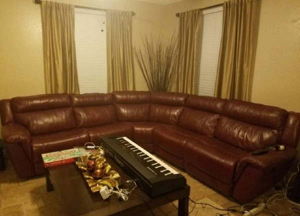 Used Burgundy leather recliner sectional sofa for sale in Orlando ...