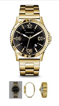 round gold-colored analog watch with link bracelet Coquitlam, V3B