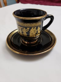 Vintage Black & 24kt Gold Cups and Saucers KE Hand Made In Greece  Montréal