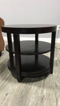 Round black wooden side table Frederick, 21704