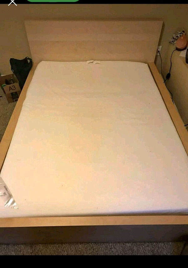 Used Full Size Platform Bed And Memory Foam Mattress For Sale In