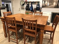 Rectangular brown wooden table with six chairs dining set 205 mi