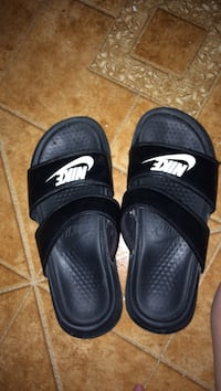 Pair of black adidas slide sandals Size 6 in women's
