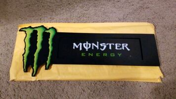 """Monster Energy Glass door metal sign with suction cups 16""""×6 1/2"""""""