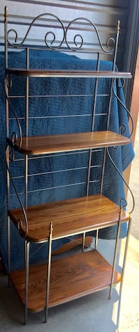 Solid Oak and Silver Nickel Wrought Iron Bakers Rack