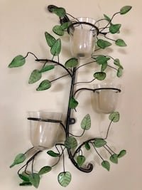 Pair of wall sconces with candles with glass leaves Lindenhurst, 11757