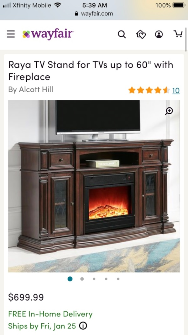 Used Fireplace Tv Stand Console Dark Cherry Up To 60 Tv