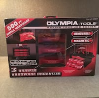 Olympia Tools 3 Drawer Hardware Organizer with 500 pc hardware NEW