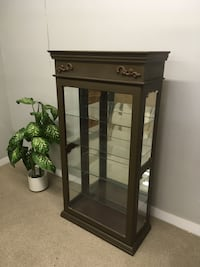 brown wooden framed glass display cabinet Abbotsford, V2T 2H4
