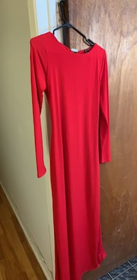 Women's red  long sleeve dress