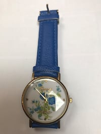 round gold analog watch with blue leather strap Falls Church, 22041