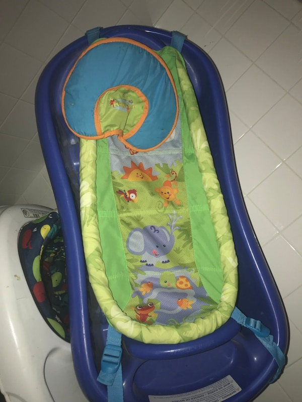 Baby's blue and green bather