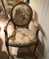 Brown wooden framed white and pink floral padded armchair Springfield, 22150