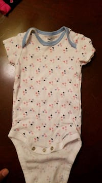 baby's white and pink onesie Chantilly, 20151