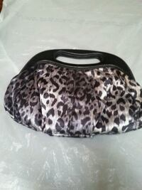 Fabric  clutch and leather handle  Niles, 44446