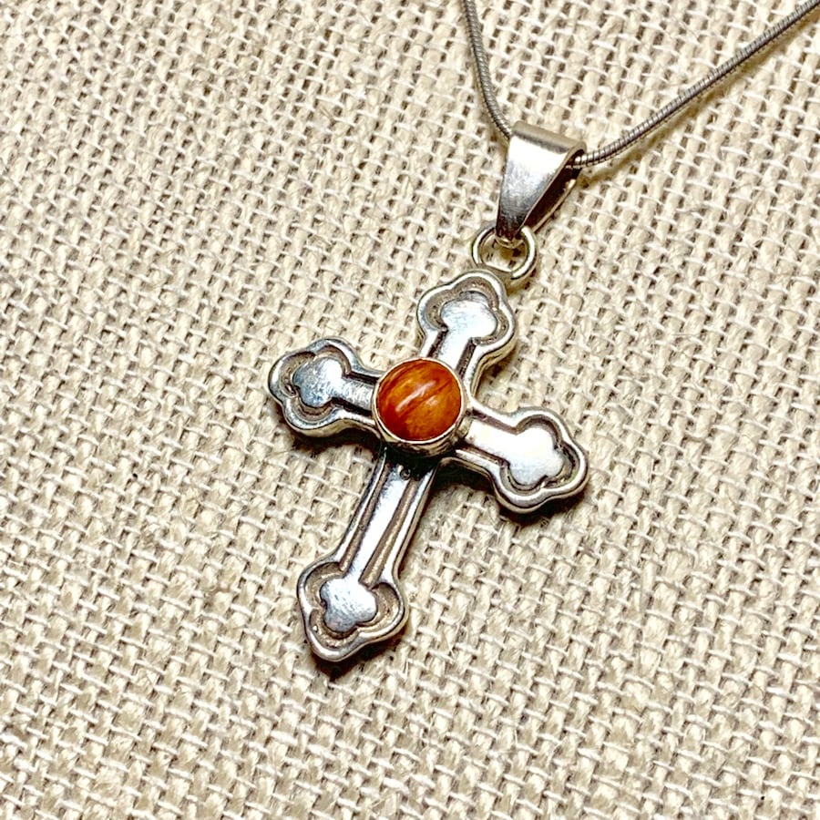 Vintage Sterling Silver Carnelian Cross Pendant with Sterling Chain