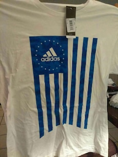white and blue Adidas crewneck shirt