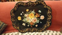 black and multicolored floral service tray Gambrills, 21054