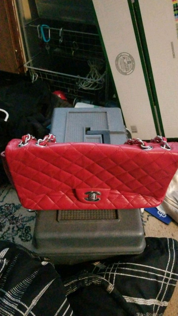 red leather Chanel purse