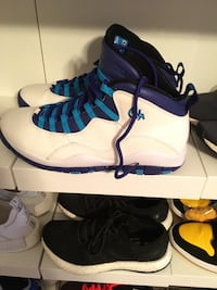pair of blue-and-white Air Jordan 10's