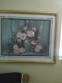 pink and white flowers with green vase painting Rialto, 92376