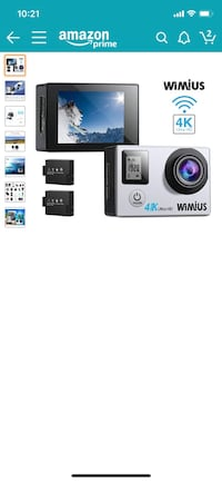 WiMiUS Action Camera 4K 16MP Dual Screen 131 Feet Underwater Camcorders WiFi Bicycle Helmet Cameras 2 Pcs Rechargeable Batteries Waterproof Case with Kit of Accessoriess, Silver Aventura, 33180