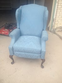 Blue Winged Back Recliner Chair