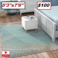 AJ - BRAND NEW - Odilia Tropical Palms Turquoise/Grey/Ivory Indoor/Outdoor Area Rug Mississauga