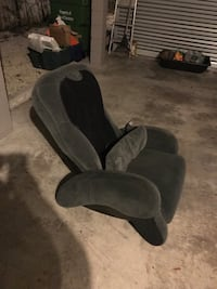 Black and gray fabric massage chair