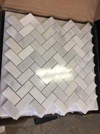 Hexagon white marble mosaic. Price is per sheet and each sheet covers 1 Sq ft. We have about 56 sf (5 full boxes and 6 separate sheets) for sale. Pick up in Merrifield VA Vienna, 22031